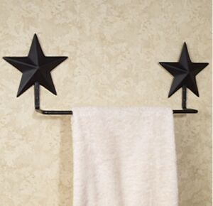 Image Is Loading Primitive Black Barn Star Towel Bar The Country