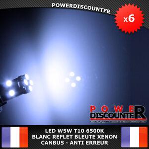 6-Veilleuses-LED-W5W-T10-Canbus-ANTI-ERREUR-ODB-6500k-XENON-8-SMD-voiture-moto