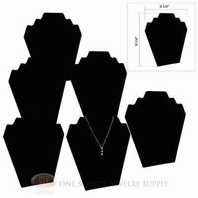 "(6) 9 1/4"" Black Velvet Padded Pendant Necklace Display Easel Presentation"