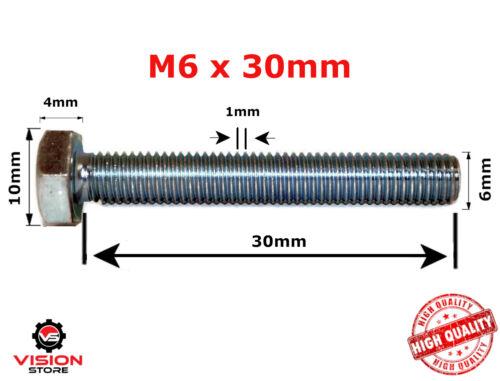 M6 6mm FULLY THREADED SET SCREW GRADE 8.8 ZINC HEXAGON HEX HEAD BOLTS SCREWS