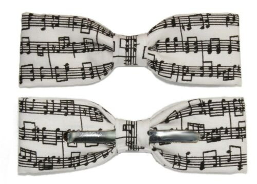 New Skinny Slim White and Black Sheet Music Clip-On Cotton Bow Tie Bowtie