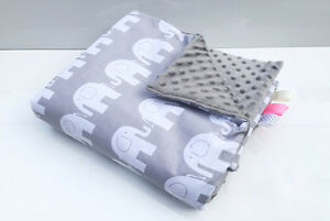 Vereinigt H&d Baby Decke 135 X 100 Minky Plüsch Elefant Grau Kuscheldecke Krabbeldecke Spielzeug