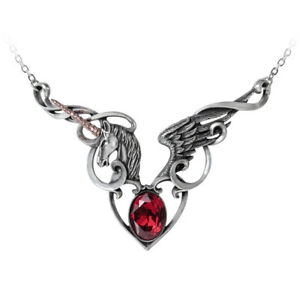 The-Maiden-039-s-Conquest-Pendant-Alchemy-Gothic-Winged-Unicorn-Heart-Jewellery-P836