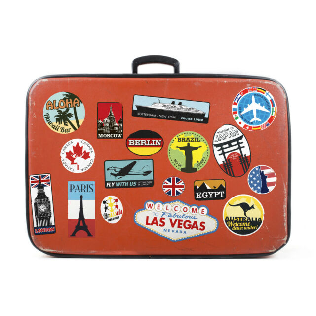 luggage stickers suitcase patches vintage travel labels retro style