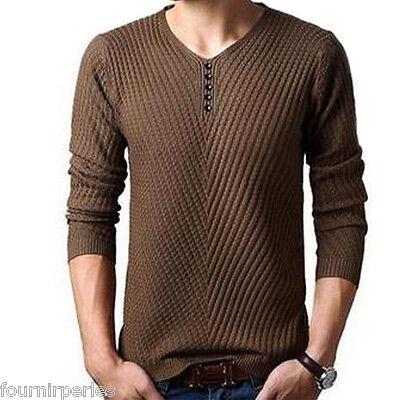 FP Mode Homme Pull Tricot Sweat Shirt Col V Manche Longue Couleur Uni Décont