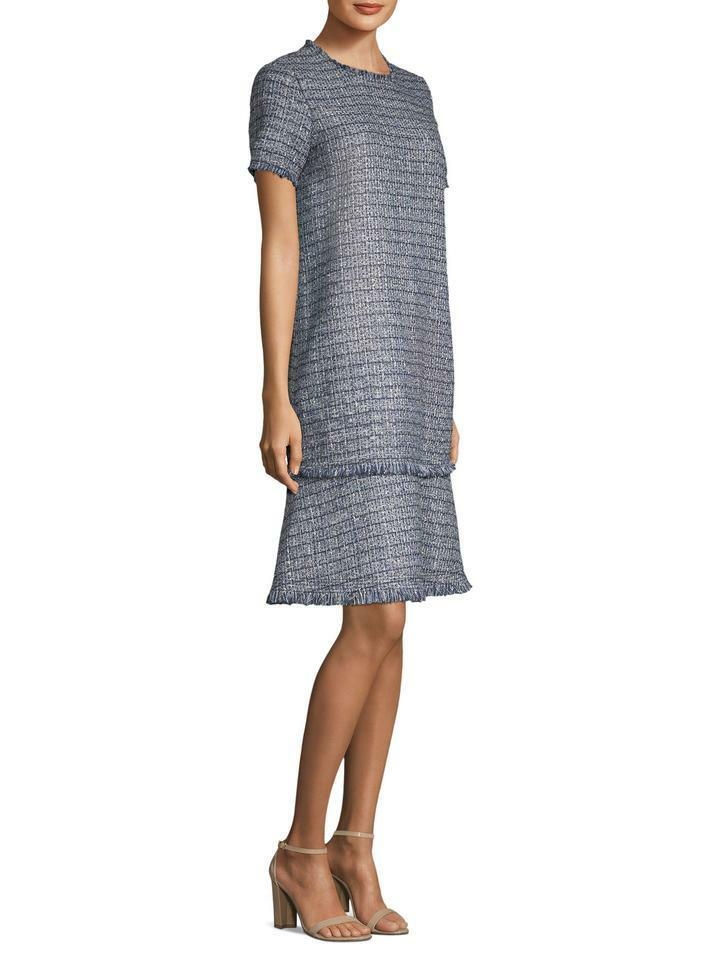 NEW Lafayette 148 New York Saria Tweed Dress in in in bluee - Size M 6c512c