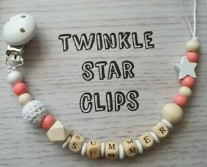 personnalise-en-bois-Dummy-Clip-Crochet-Star-Cadeau-Love-Baby