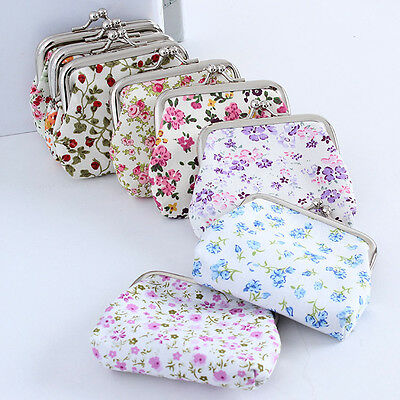 Chic Women Multicolor Cotton Fabric Hasp Coin Bags Floral Printed Coin Purses