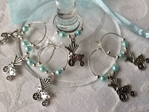 PRAM Baby Shower Wine Glass Charms  6-10 Baby Favours Christenings BLUE Reveal