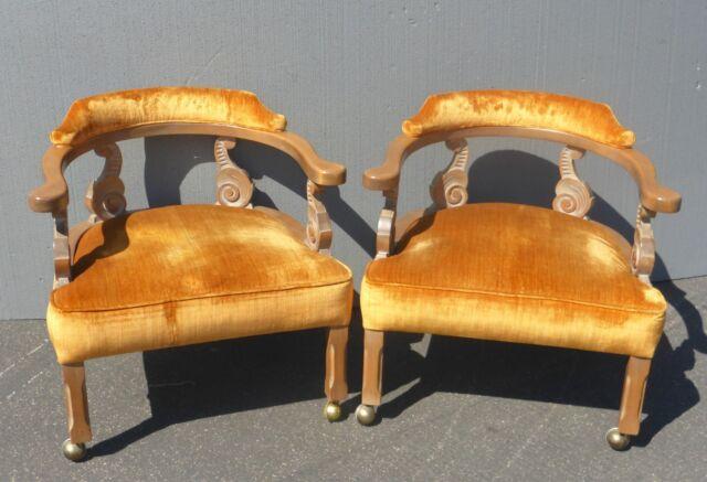 Pair Of Two Vintage Hollywood Regency Style Orange Velvet Scrolled ARM  CHAIRS