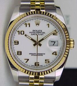 ROLEX-36mm-Mens-18kt-Gold-amp-SS-DateJust-White-Arabic-Jubilee-116233-SANT-BLANC