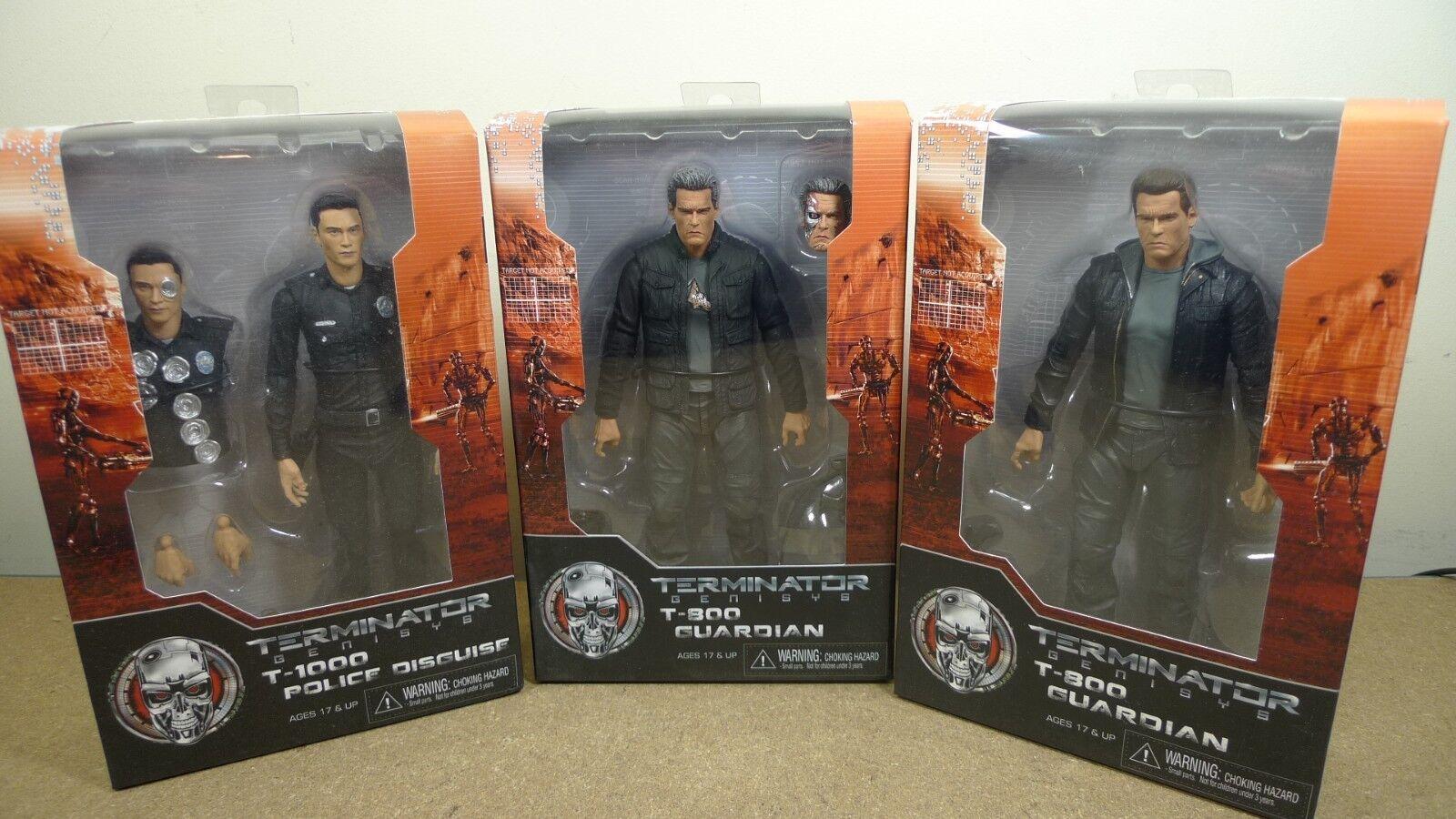 Neca Terminator Genisys Set of 3 T-800 Guardian, T-1000 & Pops Action Figures BN