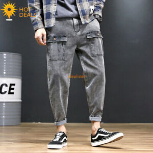 Men-039-s-Loose-Denim-Pantalons-Cargo-Gris-Stretch-Cropped-Jogger-Jeans-Plus-Taille-28-48