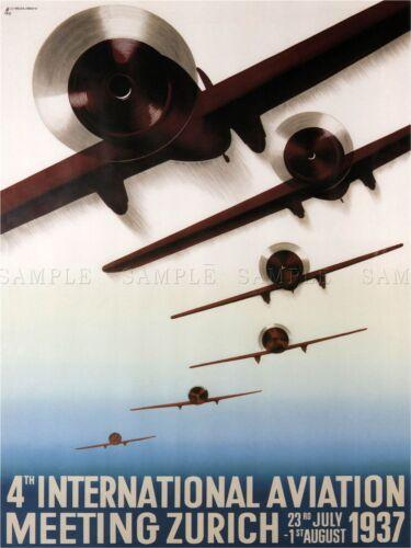 EXHIBITION AIRSHOW ZURICH SWITZERLAND AIRPLANE AEROPLANE ADVERT POSTER 1666PYLV