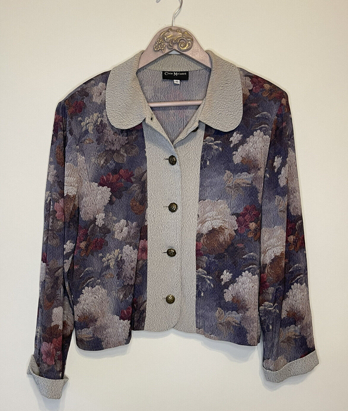 Claire McCardell Size 10 Vintage Jacket Floral Ra… - image 1