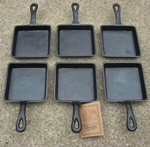 Old-Mountain-Square-Single-Serve-Cast-Iron-Skillet-Preseasoned-Set-of-6