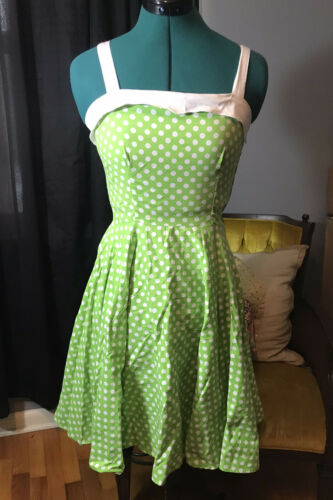 Pinup Couture Small Green White Netti Swing Dress