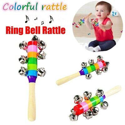 Baby Shaking Rattle Jingle Handbell Musical Instrument Early Educational Toy UK