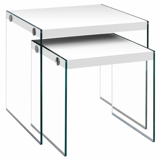 Glossy White Tempered Glass 2-piece Nesting Table Set White Modern & Contemporar
