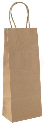 Shopping Bag with Handles Kraft Paper Wine Gift Pack of 12