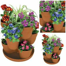"3 Tier Stackable Flower Planting System Landscaping Supplies 5"" Planters Patio"