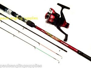 shakespeare firebird multi feeder fishing rod 2 tip red reel with