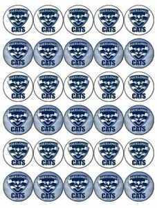 30 Geelong Cats Cupcake Toppers Edible Wafer Paper Birthday Cake Decorations Ebay