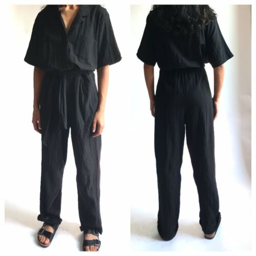 80s Saint Germain 100% Cotton Black Gauze Jumpsuit