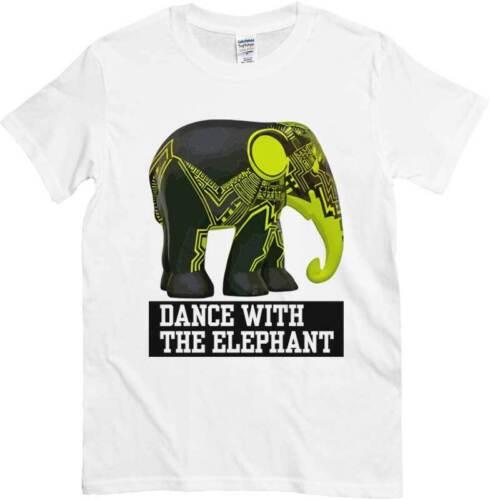 maglietta Dj bianca con Elefante elettronico T-Shirt Dance with the Elephant
