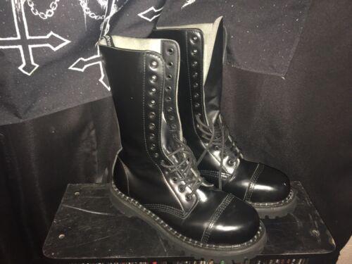 Demonia Black Leather 14 eye Steel Toe Combat Boot