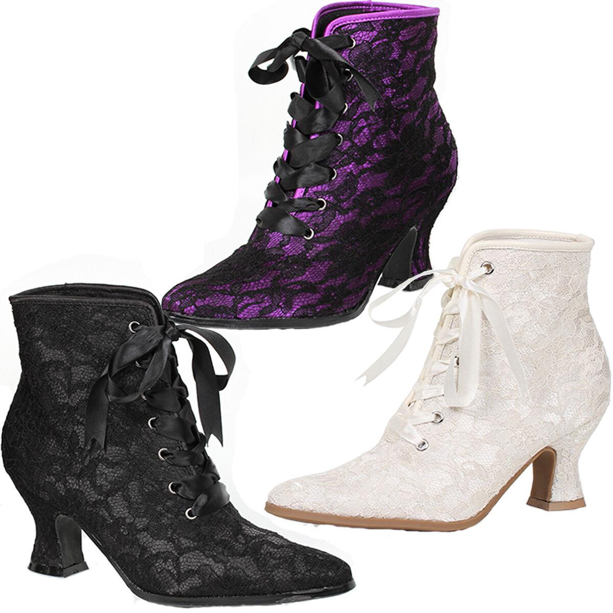 Granny Style Ankle Boots w 2.5  Heel Lace Overlay Sz 6-10 NIB 253-ELIZABETH