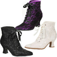 Granny Style Ankle Boots W 2.5 Heel Lace Overlay Sz 6-10 253-elizabeth