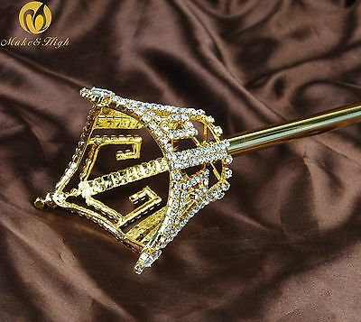 Unisex Gold Scepter King Queen Crown Rhinestone Sceptre Wand Parade Pageant Prom