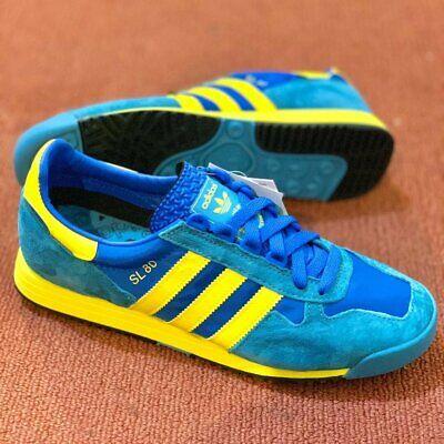 Adidas Originals SL 80 Mens Blue Yellow Shoe Trainer Sneaker All Sizes | eBay
