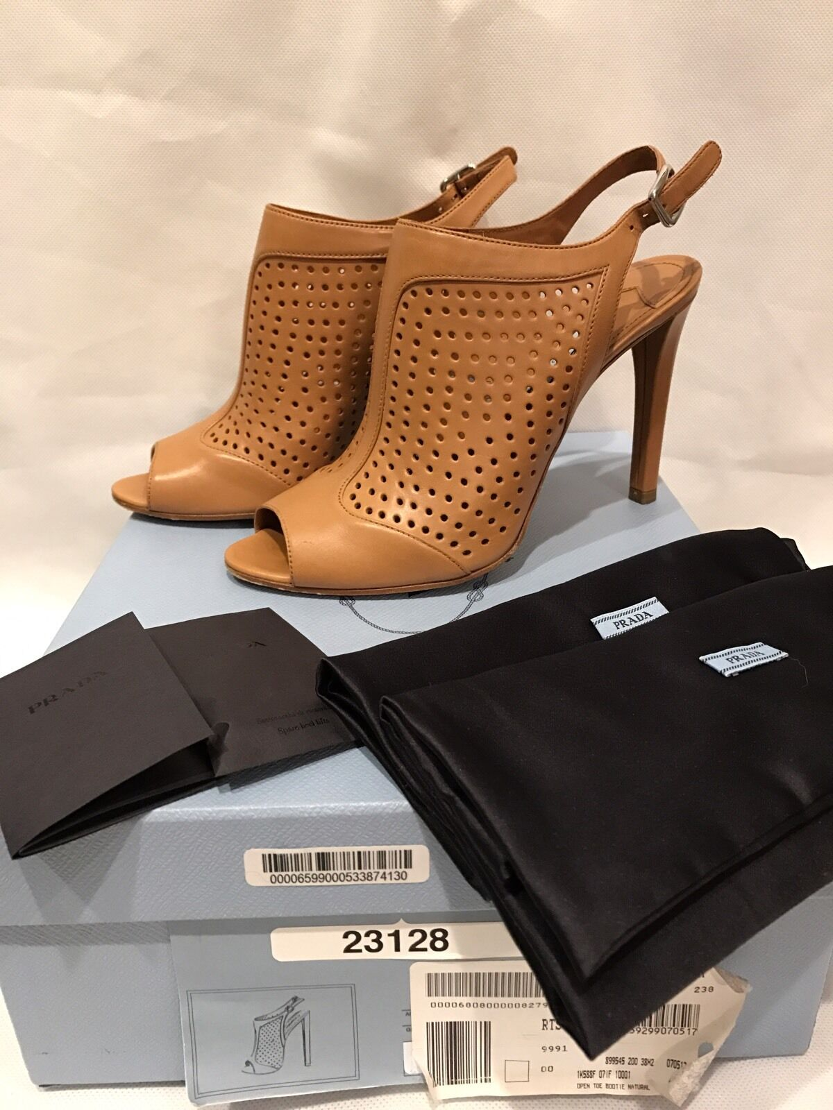 PRADA Camel Brown Perforated Open Toe Ankle Booties Sandals Heels 38
