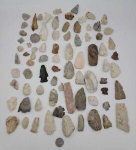 80 Plus Authentic Illinois Native American artifact Lot arrowheads points Drills