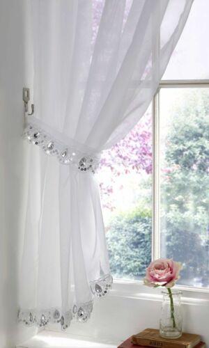 White Jewelled Elegant Sequin Sparkle Voile Net Curtain Slot Top Single Panel