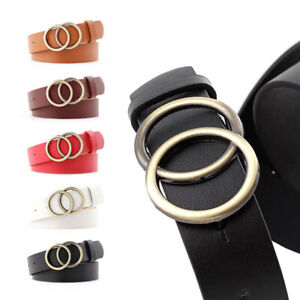 94f914291ce9f Double Circle Round Buckle Women Waist Belt for Ladies Jeans Causal ...
