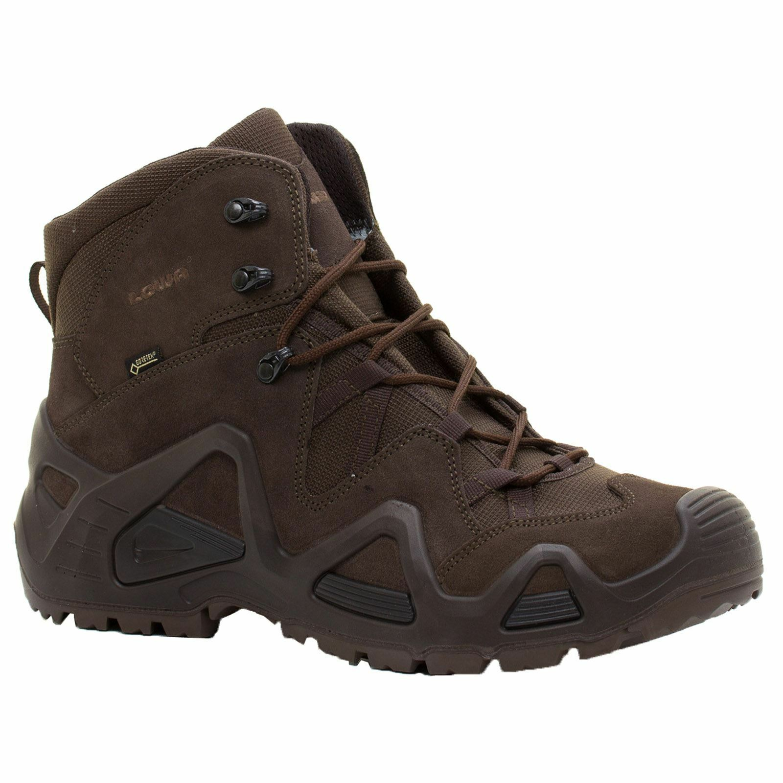 Lowa Zephyr Gore-Tex Mid Task Force Dark Brown Mens Suede Military Boots