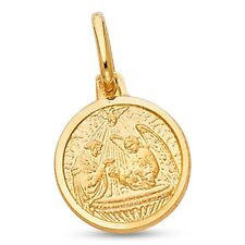 Solid 14k Yellow Gold Round Baptism Pendant Coin Charm Religious Design Polished