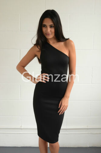 New womens ladies one shoulder midi black party pencil wiggle bodycon dress