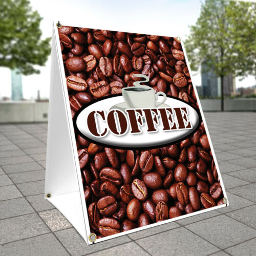 A-frame Sidewalk Sign Coffee With Graphics On Each Side