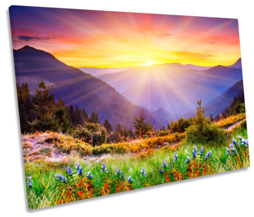 Mountain Sunset Landscape SINGLE CANVAS WALL ART Picture Print
