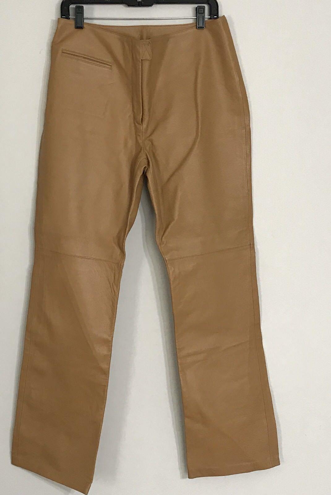 damen Marcia Collection  Skin Tan Leather Pants Größe 12