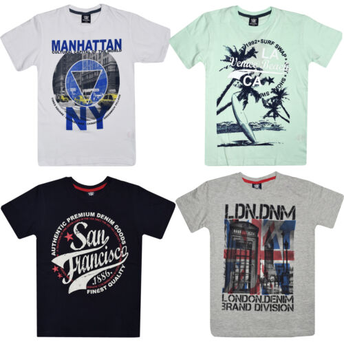 NEW KIDS BOYS CHILDREN COTTON FRONT PRINTED T SHIRT AGE 7-13