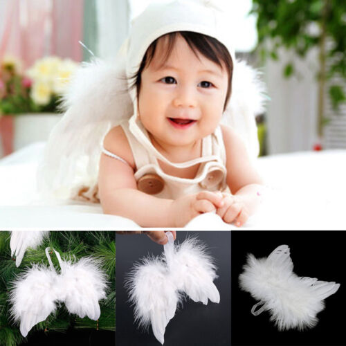 1Pc White Feather Angel Wings Christmas Tree Hanging Ornament Photography Props