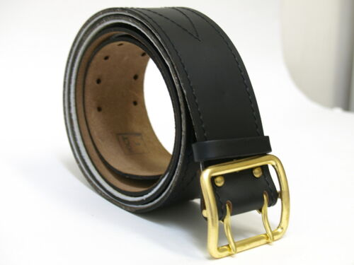 Original USSR Russian Army Officer Real Genuine Leather Black Belt stitched!