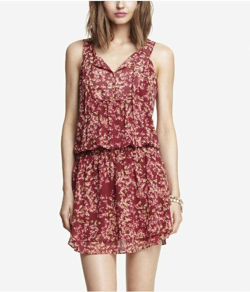 NWT SEXY EXPRESS FLORAL PRINT WOVEN WOVEN WOVEN COVER-UP DRESS RED S CO f85594