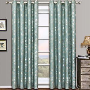 Image Is Loading Blue Aqua Luxury Charlotte Grommet Jacquard Window Curtains