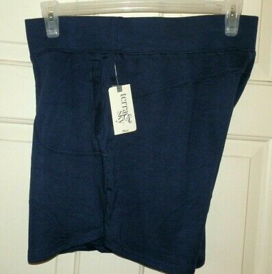 "New Womens 1X 16W-18W Blue Knit Shorts Generous Fit Terra /& Sky 4.5/"" Pockets tag"